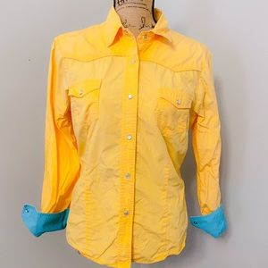 ROPER - Yellow & Turquoise Western Style Shirt - L